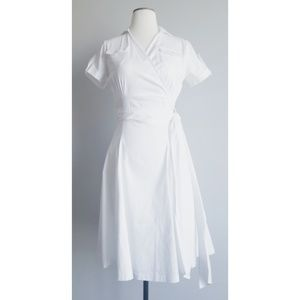 Shabby Apple Wrap Front White Bonheur Dress